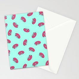 Pink Glazed Donut Pattern Stationery Cards
