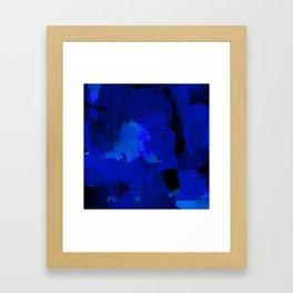 Night blue strokes Dark blue and black abstract painting B01YK Framed Art Print
