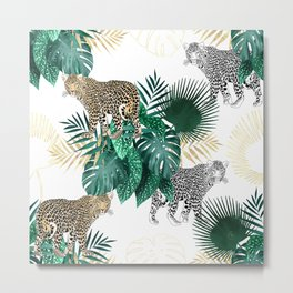 Modern leopard and tropical leaves design Metal Print