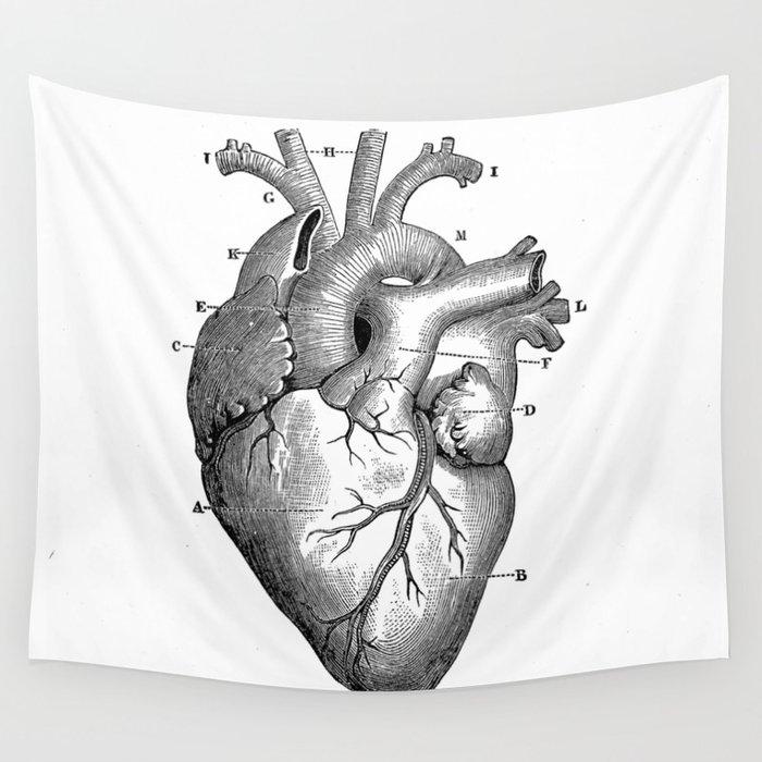 ANATOMY OF A HEART Wall Tapestry by bizarrojerry | Society6