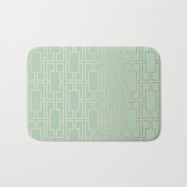 Simply Mid-Century in White Gold Sands and Pastel Cactus Green Bath Mat