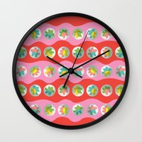 bubblegum Wall Clocks featuring Bubblegum by K I R A   S E I L E R