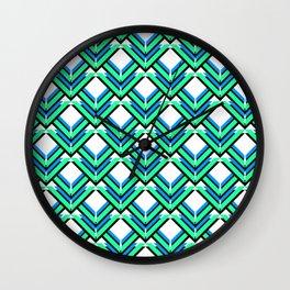 Blue Green Pattern Wall Clock