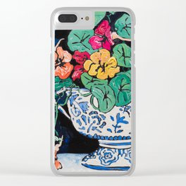 Nasturtium Bouquet in Chinoiserie Bowl on Dark Blue Floral Still Life Painting Clear iPhone Case