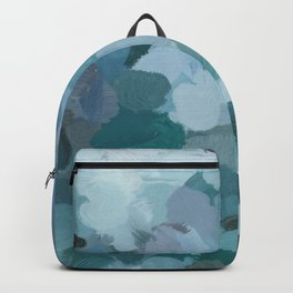 Turquoise Blue Green Mint Purple Abstract Geode Rock Wall Art Brush Painting Print Backpack