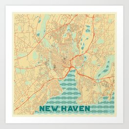 New Haven Map Retro Art Print