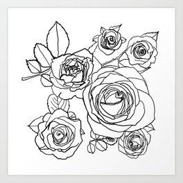 Feminine and Romantic Rose Pattern Line Work Illustration Art Print