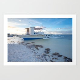 Traditional Filipino boat on the beach, Philippines Art Print
