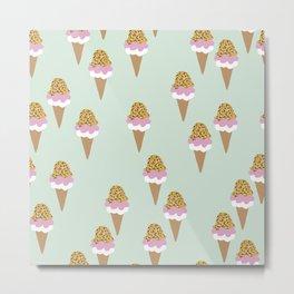 Leopard Mint Ice Cream Gelato Design Patern Print Metal Print