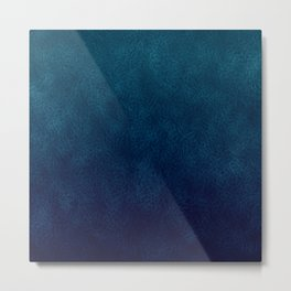 Dusty Leather Blue Midnight Gradient Design Print Metal Print