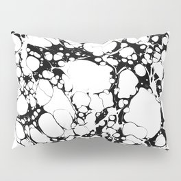 Black and White bubbles Spilled Ink Marbled Paper Pillow Sham