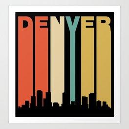 Retro Denver Colorado Cityscape Downtown Skyline Art Print