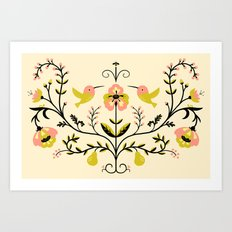 Hummingbirds and Pears Art Print