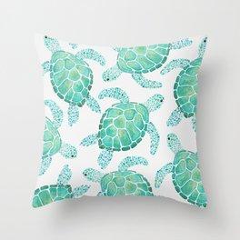 Sea Turtle Pattern - Blue Throw Pillow
