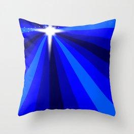 Blue Christmas Star Throw Pillow