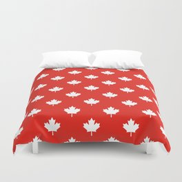 Large Reversed White Canadian Maple Leaf on Red Duvet Cover