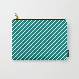 Diagonal Lines (White/Teal) Carry-All Pouch