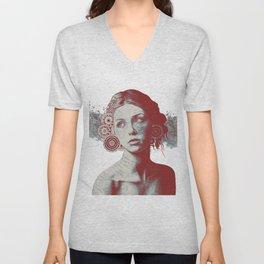 Ayil: Red Shadow | vintage lady portrait | zentangle mandala drawing Unisex V-Neck