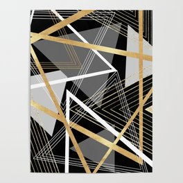 Original Gray and Gold Abstract Geometric Poster