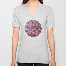 deep purple art nouveau pattern, chic,elegant,belle époque Unisex V-Neck