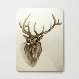 Elk Portrait - In the Roar Metal Print
