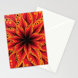 Red and yellow flower layers Stationery Cards