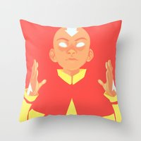aang Throw Pillows featuring Avatar Aang by lisaveeee