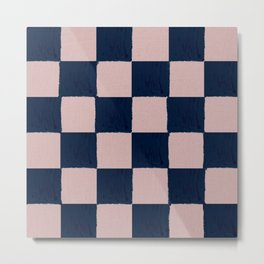 Dusty Rose and dark blue checks - soft pastel Metal Print