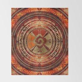 Hunab Ku Mayan symbol Burnt Orange and Gold Throw Blanket