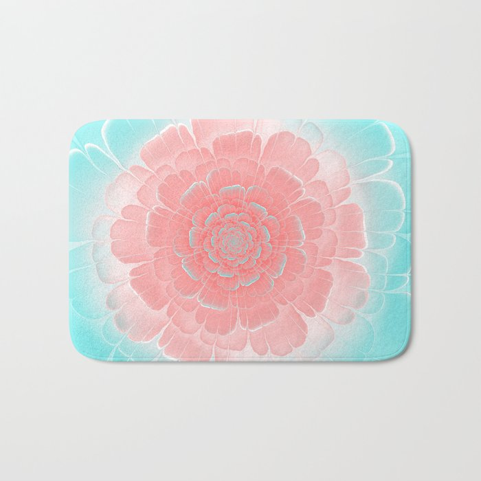 Romantic aqua and pink flower, digital abstracts Bath Mat