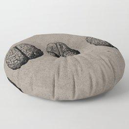 Row o' Brains - Engraving - Vintage - Old Black, White & Brown Floor Pillow