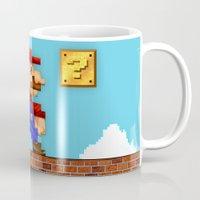 super mario Mugs featuring Super Mario Pixelated Realism by Jimiyo