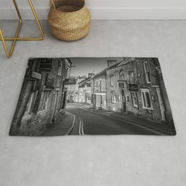 Winding Cotswold Town Road Black and White England Rug