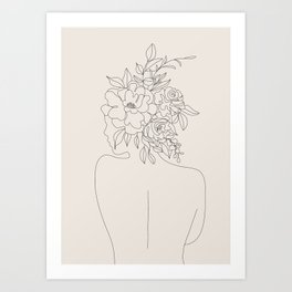 Woman with Flowers Minimal Line I Art Print