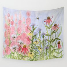 Pink Blue Yellow Flowers Blue Skies  Wall Tapestry