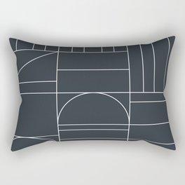 Deco Geometric 04 Black Rectangular Pillow