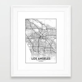 Minimal City Maps - Map Of Los Angeles, California, United States Framed Art Print
