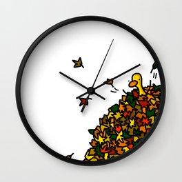 Autumn Leaf Pile Wall Clock