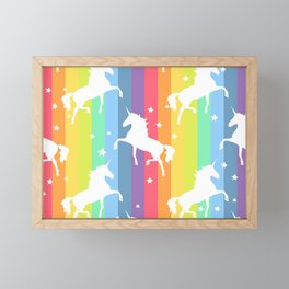 Rainbow Unicorns Framed Mini Art Print