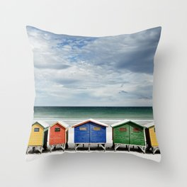 Beach Huts - Colorful houses and Sea, Cape Town, South Africa Throw Pillow