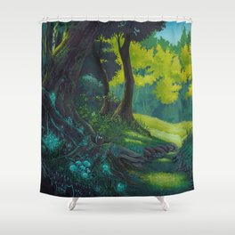 Magic forest glade art bright colors Shower Curtain