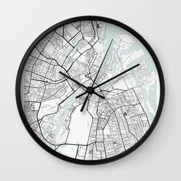 Copenhagen Denmark Blue Water Street Map Wall Clock