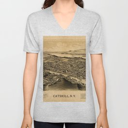 Map Of Catskill 1889 Unisex V-Neck