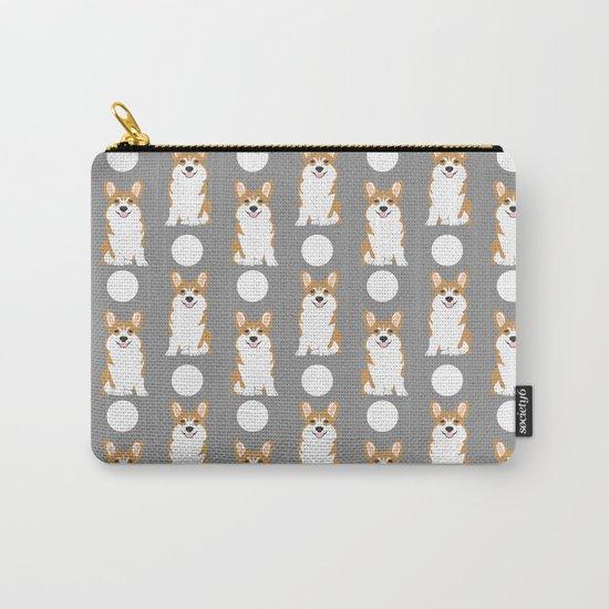 Corgi polka dot pattern grey cute corgi dog for dog people Carry-All Pouch