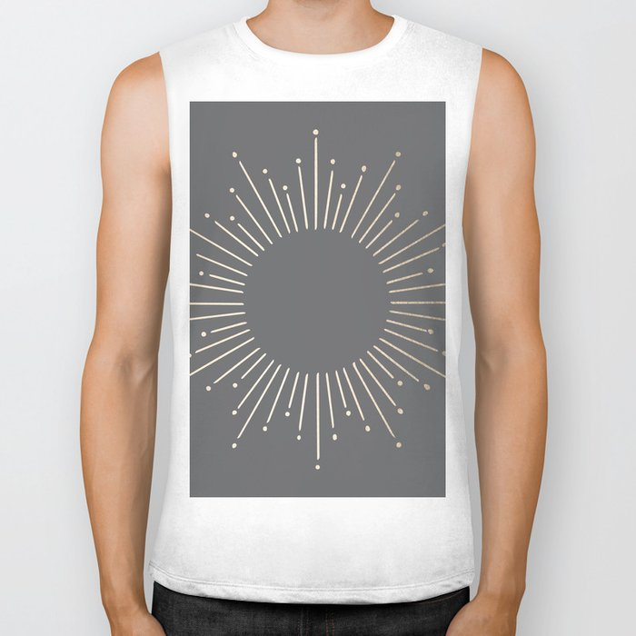 Simply Sunburst in White Gold Sands on Storm Gray Biker Tank
