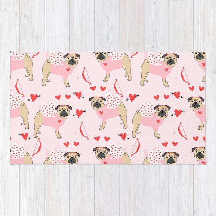 Pug love cupid dog costume valentines day pet gifts pugs Rug