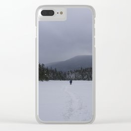 Snowshoeing Across Lonesome Lake - NH Clear iPhone Case