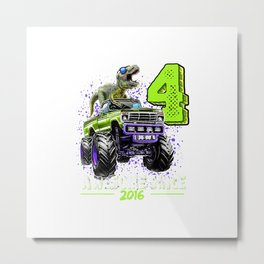 4 Awesome Since 2016 Dinosaur Monster Truck 4th Birthday Boy T-Shirt Metal Print