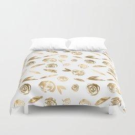 Gold Roses Rosette Pattern Golden on White Duvet Cover