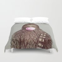 humor Duvet Covers featuring Big Chew by Eric Fan